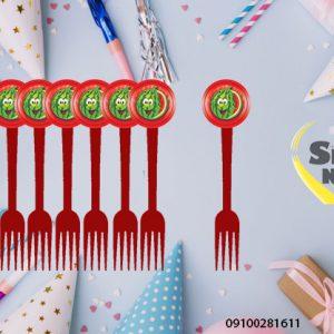 چنگال تم یلدا - فروش عمده تم تولد یلدایی شکل هندوانه و انار لبخند