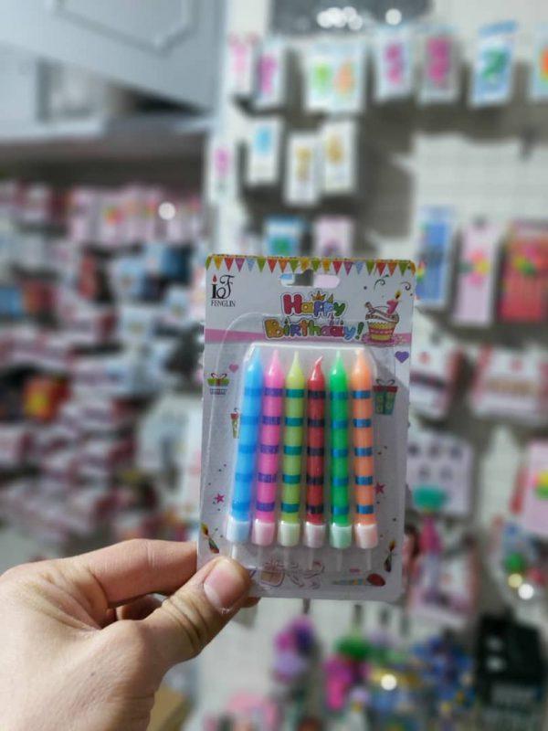 خرید آنلاین شمع رنگی و طرح دار مدل مدادی در پک 6 تایی مناسب تولد