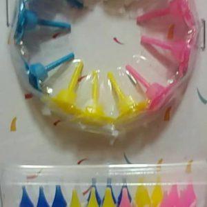 خرید مستقیم شمع رنگی تولد در پک 24 تایی ریز همرا با پایه جدا از سایت کاریشاپ
