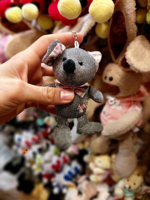 فروش عروسک موش آویزانی لمه و براق پاپیون دار در رنگبندی خاکستری و طلایی