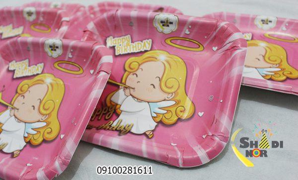تم تولد فرشته کوچولو بشقاب فروش عمده تم دخترانه
