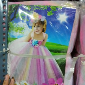 خرید عمده لوازم هالووین لباس دخترانه طرح اسکلت و رنگین کمانی