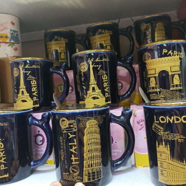 خرید عمده محصولات کادویی جذاب ماگ مشکی طرح برج